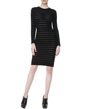Fitted Sheer-Stripe Dress
