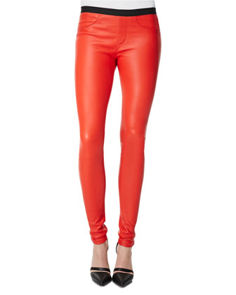 Contrast-Waist Leather Leggings, Vein