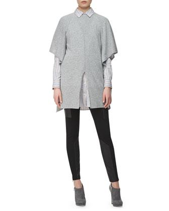 Split-Front Knit Poncho