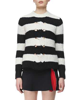 Striped Cable-Center Pullover