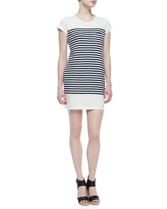 Courtina Striped-Jersey Short-Sleeve Dress, Porcelain/Dark Navy