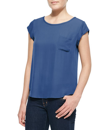 Rancher Silk Short-Sleeve Top, Sea Blue