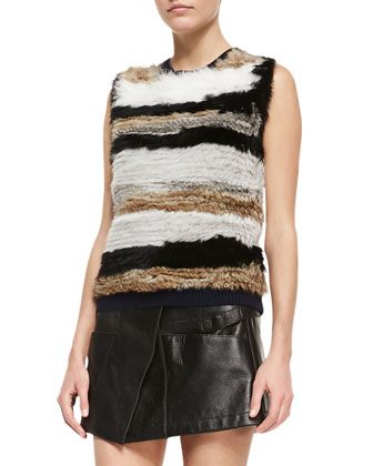 Striped Fur Sleeveless Pullover