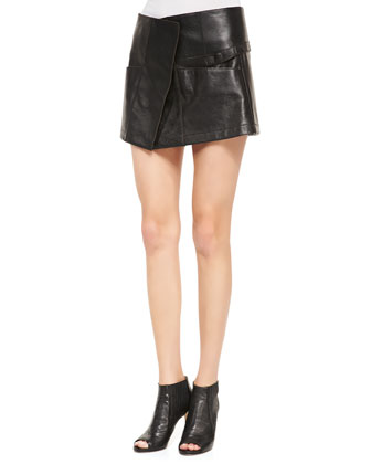 Leather Toph Military Miniskirt