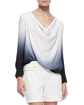 Long-Sleeve Cowl-Neck Blouse with Cutout Back