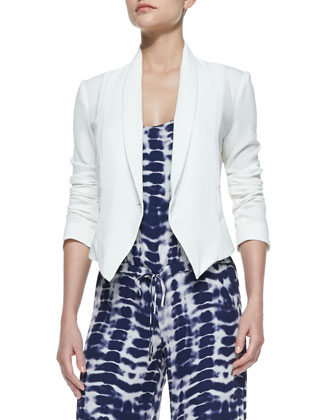 Long-Sleeve Cropped Blazer, Antique Ivoire