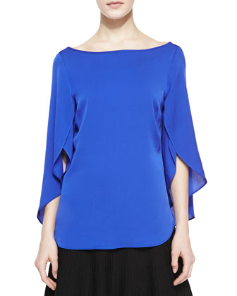 Butterfly Scoop-Back Silk Top