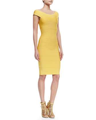 Cap-Sleeve Banded Dress