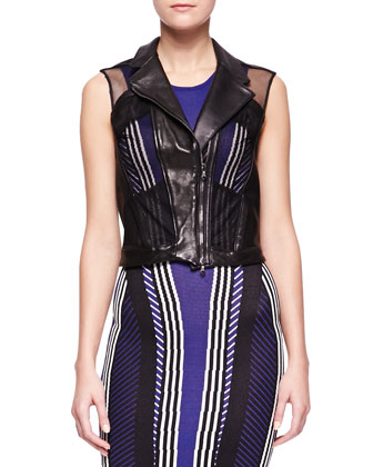 Mesh-Inset Leather Vest