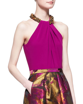 Beaded-Neck Halter Top, Magenta