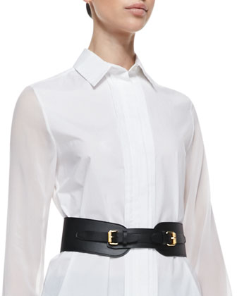 Equestrian Faux Leather Cinch Belt