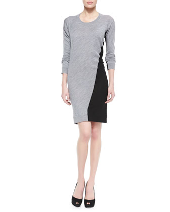 Knit Swirl-Colorblock Sweater Dress
