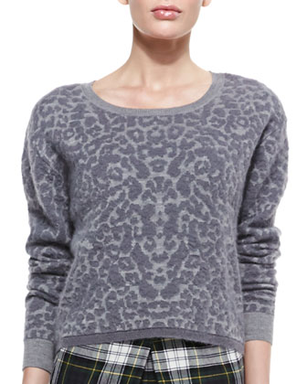 Short Leopard-Print Intarsia Sweater