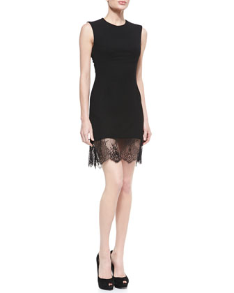 Crepe Lace-Bottom Sleeveless Dress