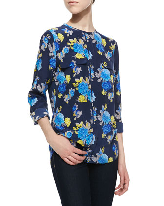 Lynn Floral-Print Blouse, Peacoat-Blue