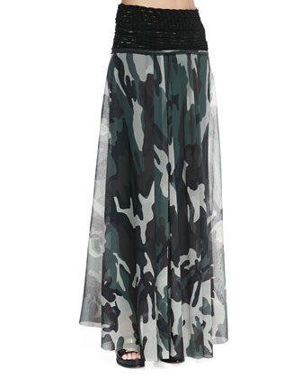 Knit-Waist Sheer Camouflage Skirt