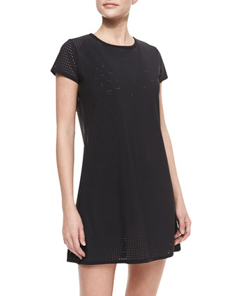 Perforated Jersey Round-Neck Coverup Dress