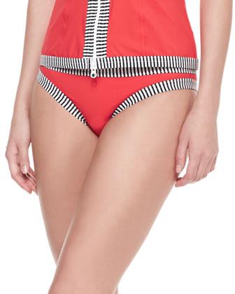 Stripe-Trim Hipster Swim Bottom
