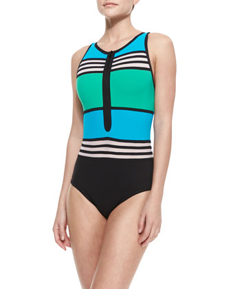 Striped/Colorblock Front-Zip Swimsuit