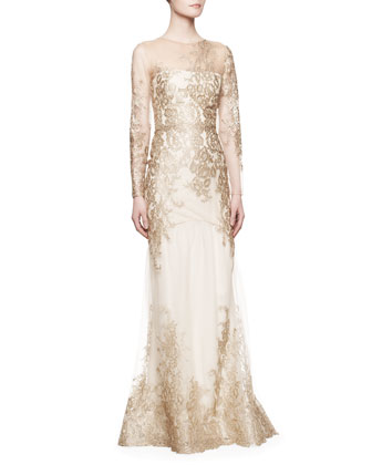 Long-Sleeve Lace Illusion Mermaid Gown, Gold