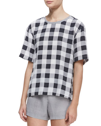 Logan Contrast-Collar Check Top
