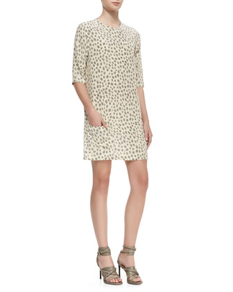 Aubrey Leopard-Print Shift Dress