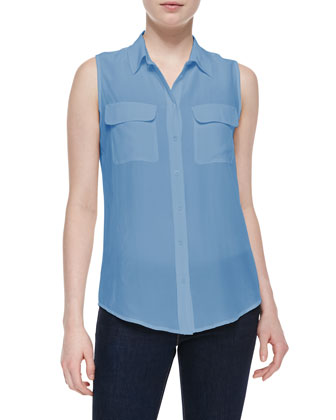 Signature Sleeveless Slim Silk Blouse