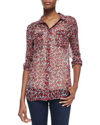 Signature Slim Sheer Printed Blouse
