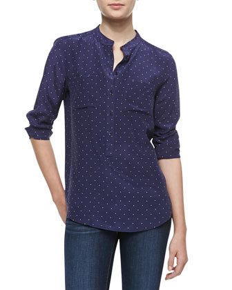 Ava Polka-Dot Silk Blouse