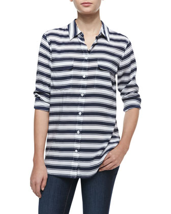 Signature Slim Striped Silk Blouse
