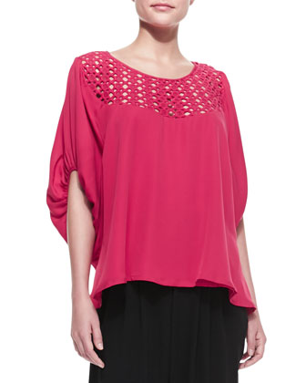 Galena Crochet-Top Silk Blouse