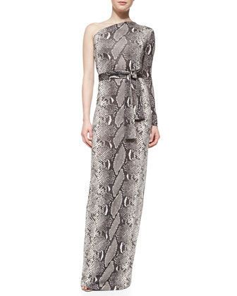 Snake-Print One-Shoulder Maxi Dress
