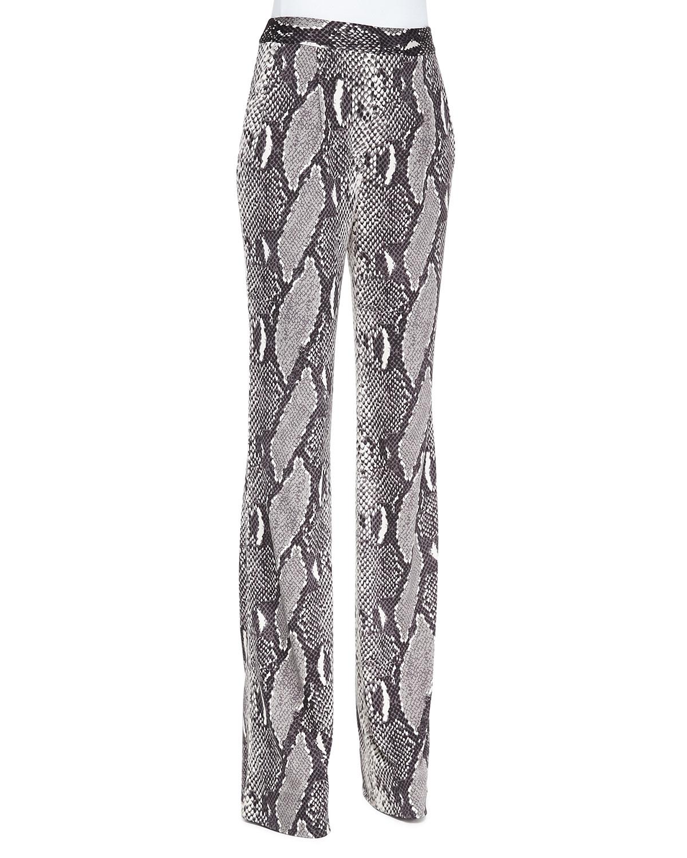 Snake-Print Silk Jersey Pants