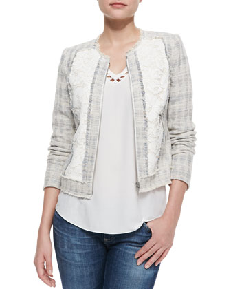 Fringe-Trim Tweed/Lace Jacket