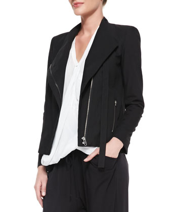 Tie-Neck Front-Zip Jacket