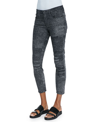 Sediment Printed Cropped Denim Jeans