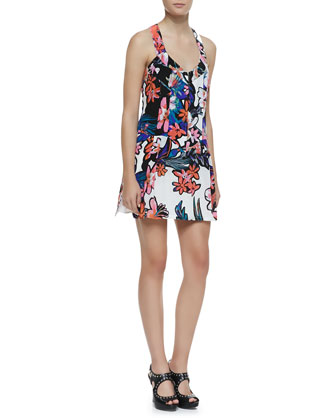 Trendy Tropics Floral-Print Silk Dress