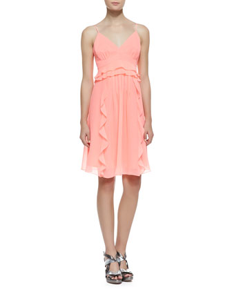 Merengue Silk Spaghetti Strap Dress, Punch Pink