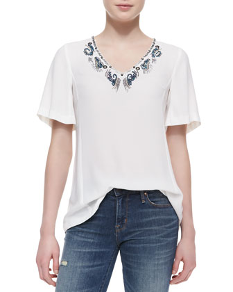 Jungle Gem Bead-Neck Top