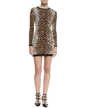 Long-Sleeve Heart Leopard-Print Sweater Dress, Toffee/Black