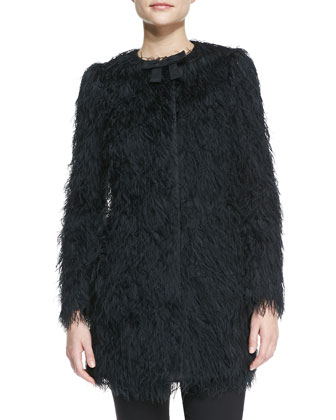 Fuzzy Coat with Faille Bow, Black