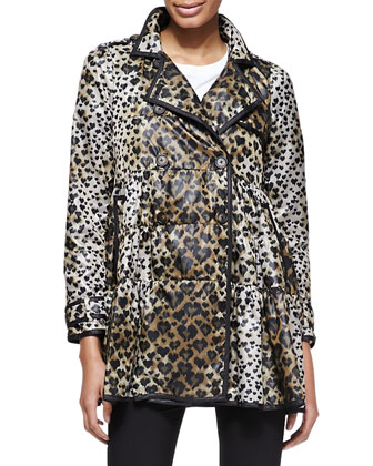 Skirted Heart-Leopard-Print Anorak Jacket