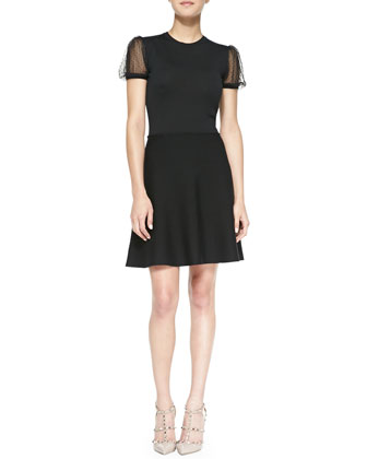 Point d'Esprit Yoked Short Knit Dress, Black