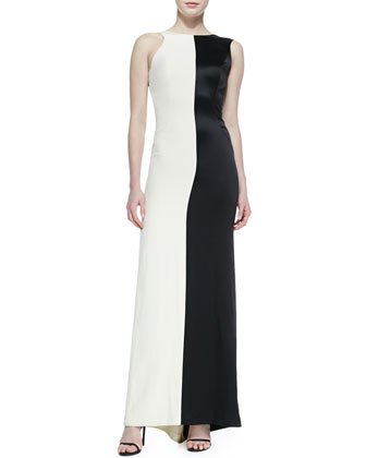 Two-Tone Sleeveless Asymmetric Gown