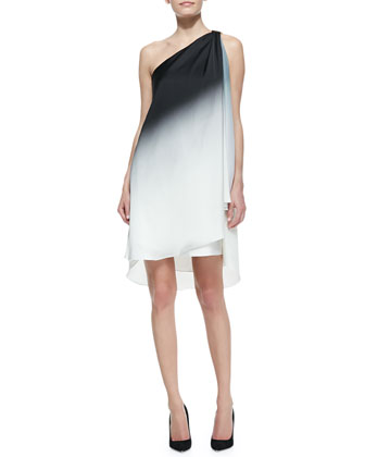 Ombre Draped One-Shoulder Dress