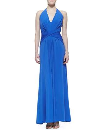 Jersey Twist-Detail Halter-Neck Gown