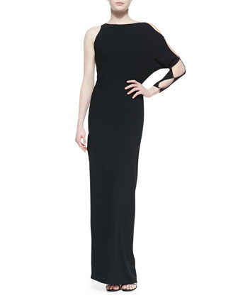 One-Sleeve Gown With Cutout Detail
