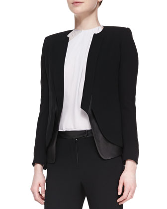 Leather/Crepe Long-Sleeve Blazer
