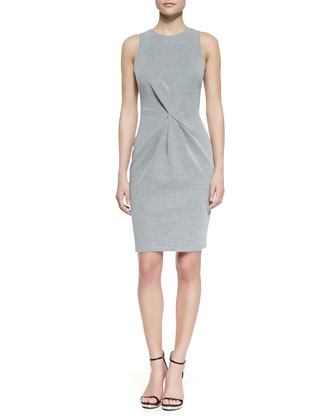 Twist-Front Sleeveless Knit Dress