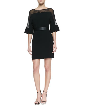 Sheer-Top Belted Crepe Dress